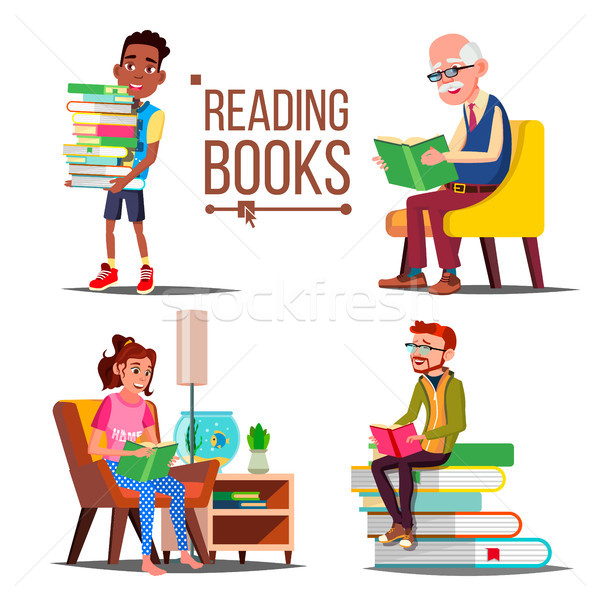 People Reading Books Vector. Big Stack Of Books. Education. Paper Book. Library. Man, Woman, Old Man Stock photo © pikepicture