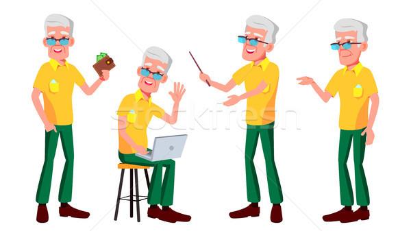 Old Man Poses Set Vector. Elderly People. Senior Person. Aged. Active Grandparent. Joy. Web, Brochur Stock photo © pikepicture