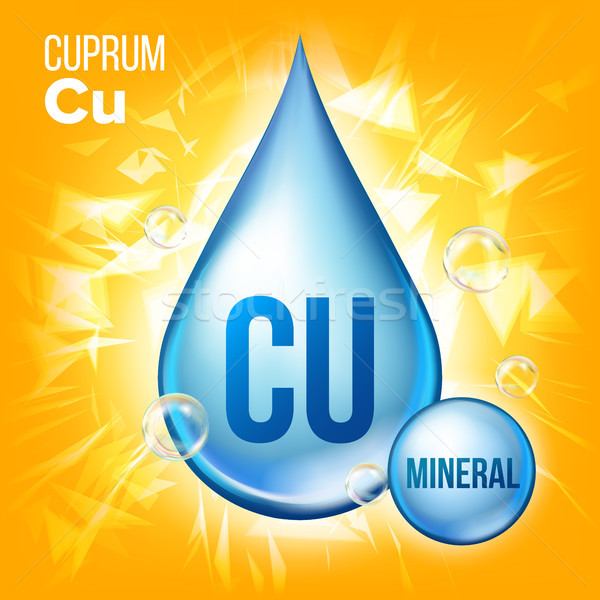 Stock photo: Cu Cuprum Vector. Mineral Blue Drop Icon. Vitamin Liquid Droplet Icon. Substance For Beauty, Cosmeti