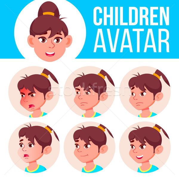 Stockfoto: Meisje · avatar · ingesteld · kid · vector