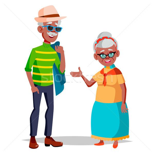 Stok fotoğraf: Yaşlı · çift · vektör · dede · büyükanne · gümüş