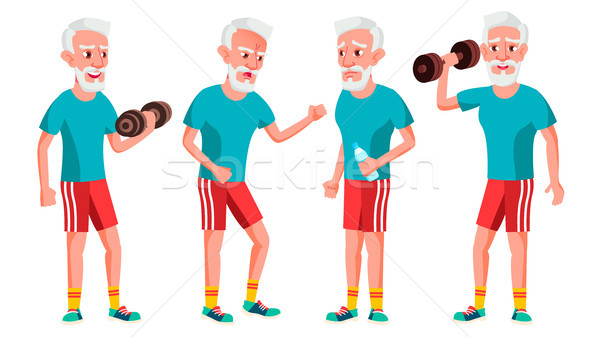 Old Man Poses Set Vector. Elderly People. Senior Person. Sport, Fitness. Aged. Positive Pensioner. A Stock photo © pikepicture
