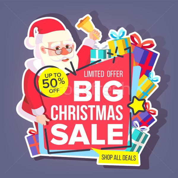 Stock fotó: Karácsony · nagy · vásár · matrica · vektor · mikulás