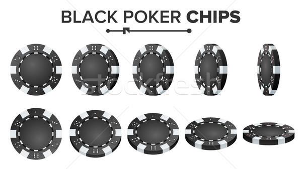 Сток-фото: черный · фишки · для · покера · вектора · реалистичный · набор · пластиковых