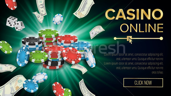 Gambling Casino Banner Vector. Explosion Bright Chips, Playing Dice, Dollar Banknotes. Winner Symbol Stock photo © pikepicture