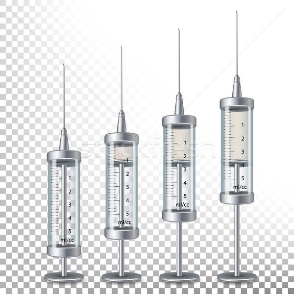 Stock photo: Glass Medical Syringe Isolated Vector.