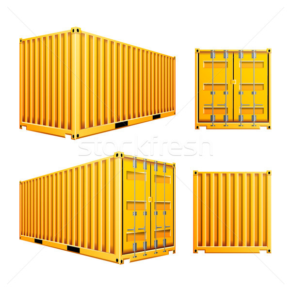 Yellow 3D Cargo Container Vector. Realistic Metal Classic Cargo Container. Freight Shipping Concept. Stock photo © pikepicture