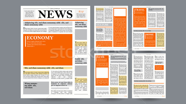 Newspaper Design Template Vector. Images, Articles, Business Information. Opening Editable Headlines Stock photo © pikepicture