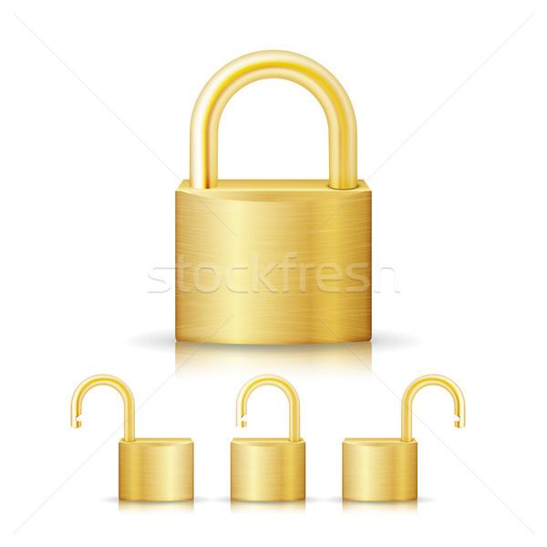 Cerrado bloqueo seguridad oro establecer icono Foto stock © pikepicture