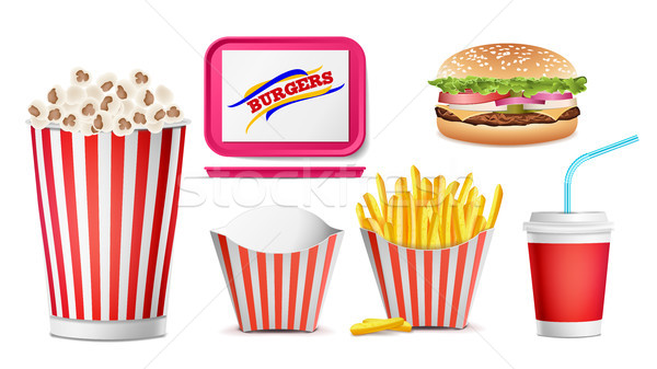 Realistic Fast Food Icons Set Vector. French Fries, Coffee, Hamburger, Cola, Tray Salver, Popcorn. I Stock photo © pikepicture