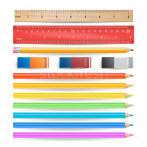 Colored Pencils, Eraser, Measuring Ruler Isolated Set Vector. Realistic School Tools Isolated On Whi Stock photo © pikepicture