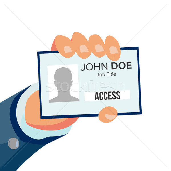 Hand Holding Id Card Vector. Identity Card With Photo And Job Title. Pass Id Card. Security Concept. Stock photo © pikepicture