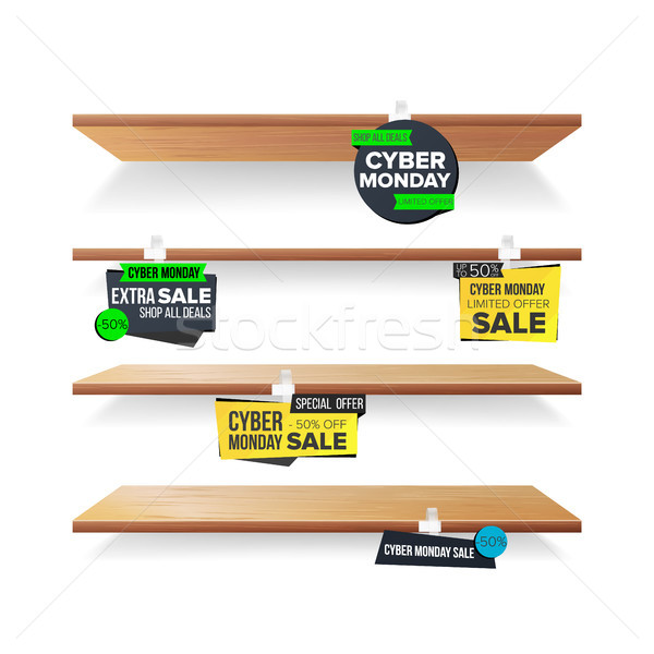 Empty Shelves, Cyber Monday Sale Advertising Wobblers Vector. Retail Concept. Big Sale Banner. Cyber Stock photo © pikepicture