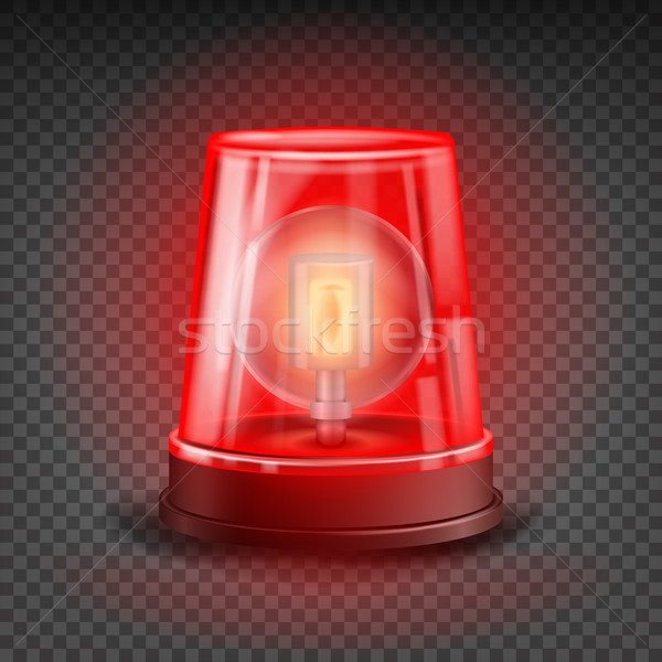 Red Flasher Siren Vector. Realistic Object. Light Effect. Beacon For Police Cars Ambulance, Fire Tru Stock photo © pikepicture