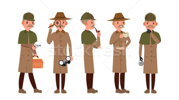 Klassiek detective vector retro professionele grappig Stockfoto © pikepicture