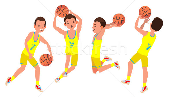 Professional Basketball Player Vector. Yellow Uniform. Playing With A Ball. Healthy Lifestyle. Team  Stock photo © pikepicture