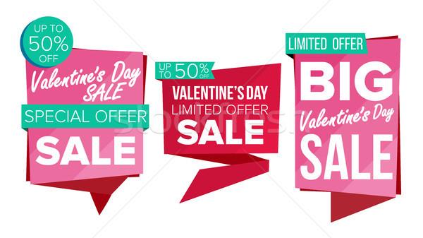 Valentin nap nap vásár szalag szett vektor Stock fotó © pikepicture