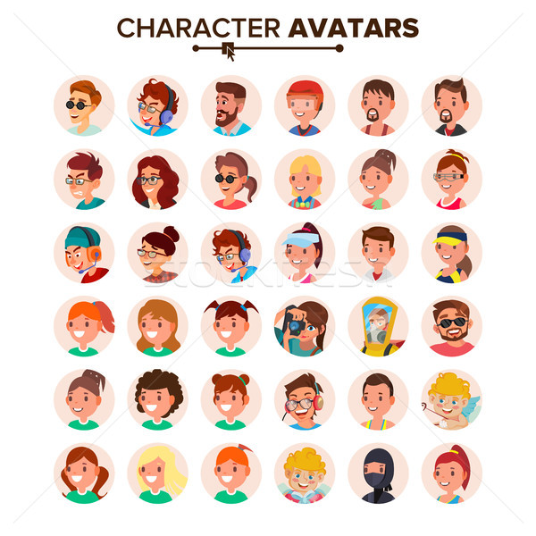 People Avatars Set Vector. Default Character Avatar Placeholder. Face, Emotions. Flat, Cartoon, Comi Stock photo © pikepicture