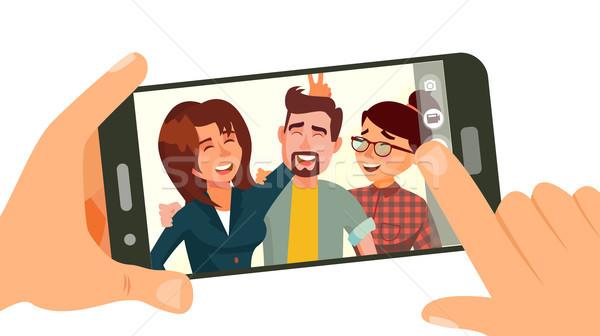Elvesz fotó okostelefon vektor mosolyog barátok Stock fotó © pikepicture