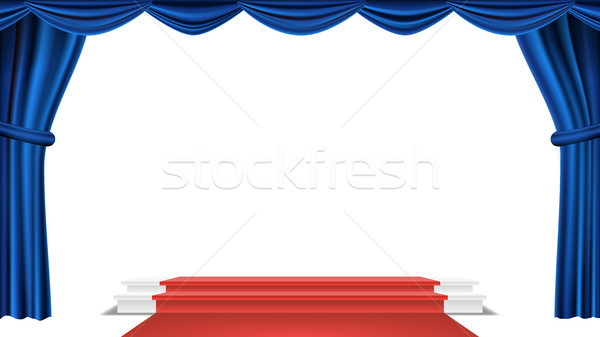 Podium Under Blue Theater Curtain Vector. Ceremony Award. Presentation. Pedestal For Winners. Isolat Stock photo © pikepicture