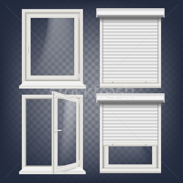 PVC Window Vector. Rolling Shutters. Opened And Closed. Front View. Open Plastic Glass Window. Isola Stock photo © pikepicture