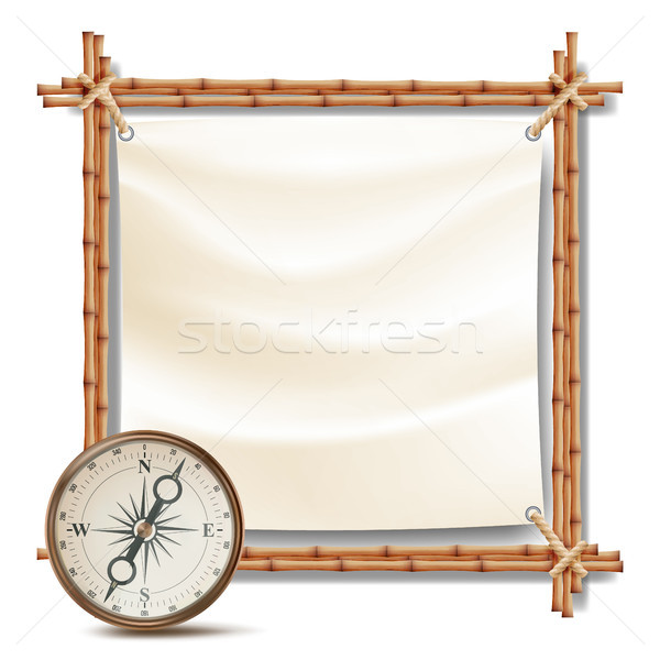 Bamboo Frame With Compass Vector. Tropical Summer Adventure Concept. Isolated Illustration Stock photo © pikepicture