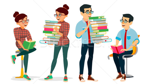 Getting Knowledge Concept Vector. Encyclopedia. Man And Woman In Book Club. Library, Academic, Schoo Stock photo © pikepicture
