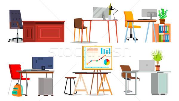 Stockfoto: Kantoor · werkplek · ingesteld · vector · interieur · kamer