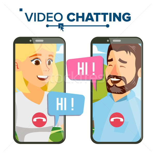 Chatting Vector. Speech Icon. Network Discussion. Smartphone. Isolated Flat Cartoon Illustration Stock photo © pikepicture