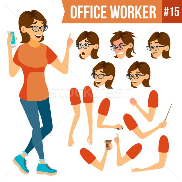 Office Worker Vector.Woman. Successful Officer, Clerk, Servant. Adult Business Woman. Face Emotions, Stock photo © pikepicture