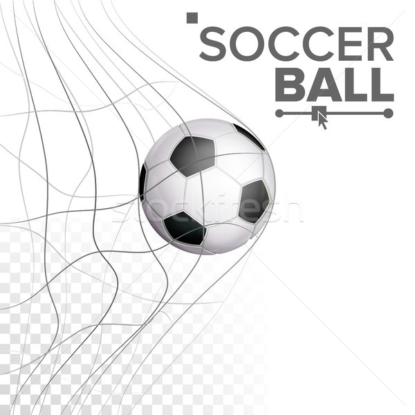 Soccer Ball In Net Vector. Hitting Goal. Sport Poster, Banner, Brochure Design Element. Isolated On  Stock photo © pikepicture