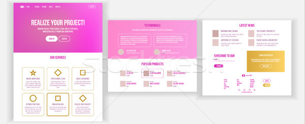 Stock photo: Main Web Page Design Vector. Website Business Reality. Landing Template. Creative Project. Informati