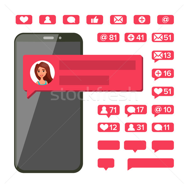 Chat Notification Vector. Mobile Phone Screen. New Messages, Likes, E-mail. Chatting Bubble Speeches Stock photo © pikepicture