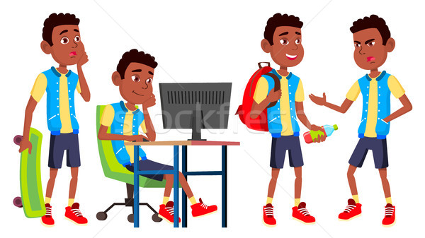 Boy Schoolboy Kid Poses Set Vector. High School Child. Schoolchild. Black. Afro American. September, Stock photo © pikepicture