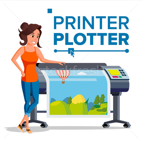 Worker With Plotter Vector. Woman. Prints Beautiful Picture, Banner. Print Service. Isolated Flat Ca Stock photo © pikepicture