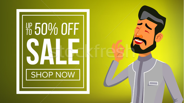 Arab Man Banner Vector. Traditional National Costume. Middle Eastern. For Advertising, Placard, Prin Stock photo © pikepicture