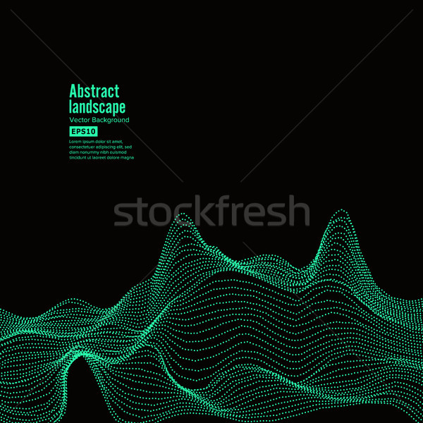 Abstract Landscape Background. Cyberspace With Dynamic Particles. Vector Illustration Stock photo © pikepicture