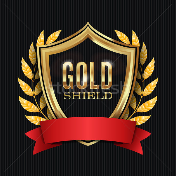 Golden Shield With Laurel Wreath And Red Ribbon. Vector Illustration Stock photo © pikepicture