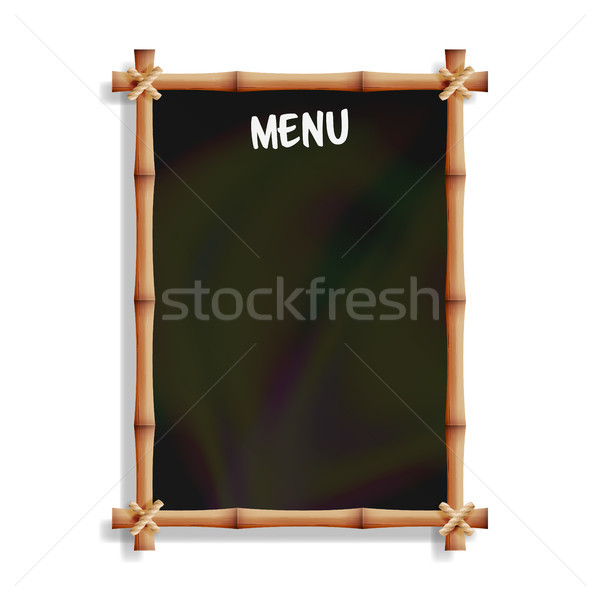 Menu Board With Bamboo Frame. Isolated On White Background. Realistic Black Chalkboard Hanging. Vect Stock photo © pikepicture