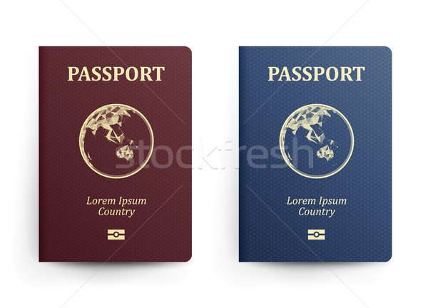 Passport With Map. Australia. Realistic Vector Illustration. Red And Blue Passports With Globe. Inte Stock photo © pikepicture