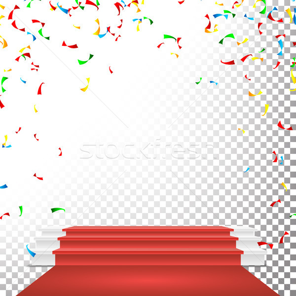 Festive Stage Podium Scene Vector. Falling Confetti Explosion. Red Circle Podium. Award Transparent  Stock photo © pikepicture