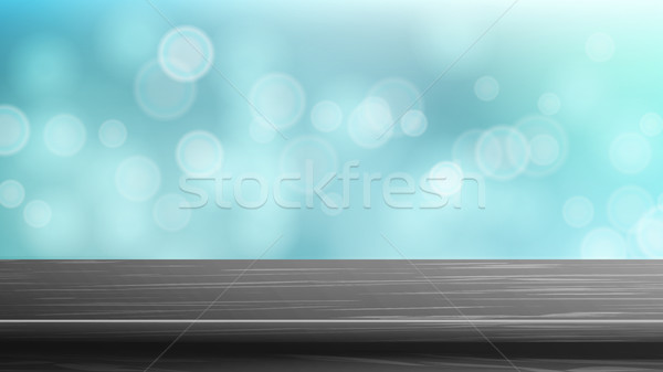 Wood Table Top Vector. Blur Summer Blue Sparking Sea Water Background. Abstract Warm Blur And Bokeh  Stock photo © pikepicture