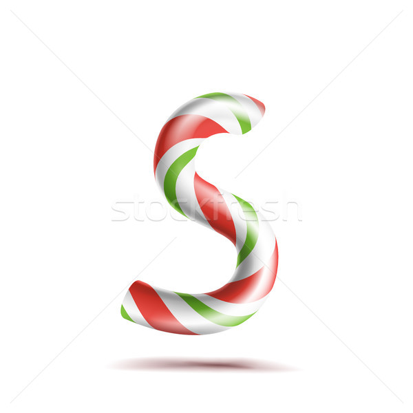Letter S Vector. 3D Realistic Candy Cane Alphabet Symbol In Christmas Colours. New Year Letter Textu Stock photo © pikepicture