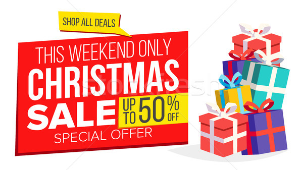 Christmas Sale Banner Template Vector. Xmas Big Sale Offer. For Xmas Banner, Brochure, Poster, Disco Stock photo © pikepicture