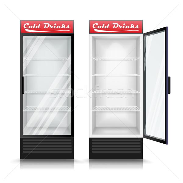 3D réaliste réfrigérateur vecteur verre porte Photo stock © pikepicture