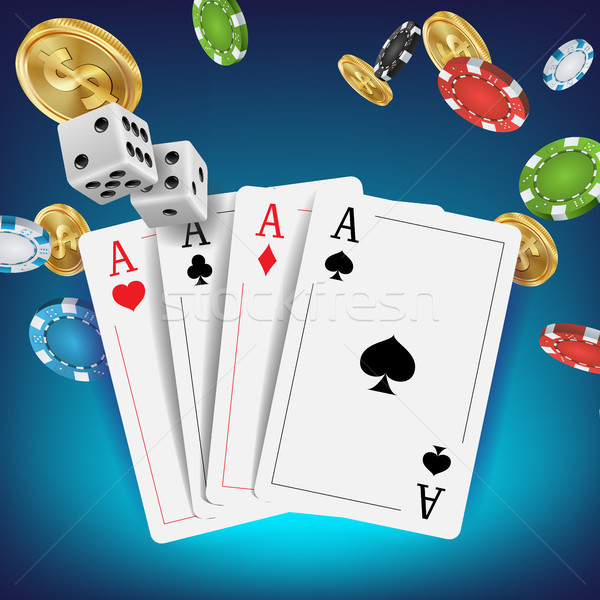 Casino Poker Design Vector. Poker Cards, Chips, Playing Gambling Cards. Royal Poker Club Emblem Conc Stock photo © pikepicture