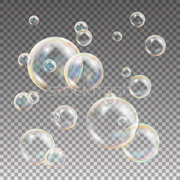 Multicolored Soap Bubbles Vector. Water And Foam Design. Rainbow Reflection Soap Bubbles. Isolated I Stock photo © pikepicture
