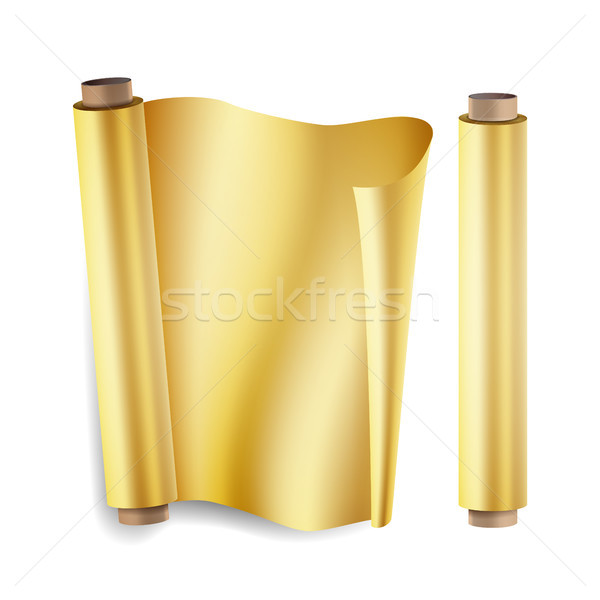 Gold Foil Roll Vector. Close Up Top View. Opened And Closed. Christmas Gift Wrapping. Realistic Illu Stock photo © pikepicture