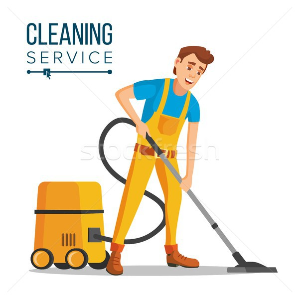 Office Cleaner Vector. Work Wiping, Dusting, Vacuuming Floor Carpets. Sanitation And Cleaner Washing Stock photo © pikepicture