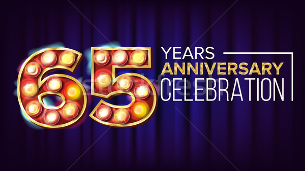65 Years Anniversary Banner Vector. Sixty-five, Sixty-fifth Celebration. Vintage Golden Illuminated  Stock photo © pikepicture